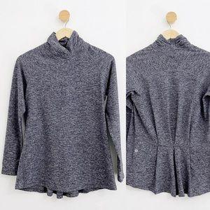 Lululemon Warm Your Core Gray Peplum Long Sleeve Pullover